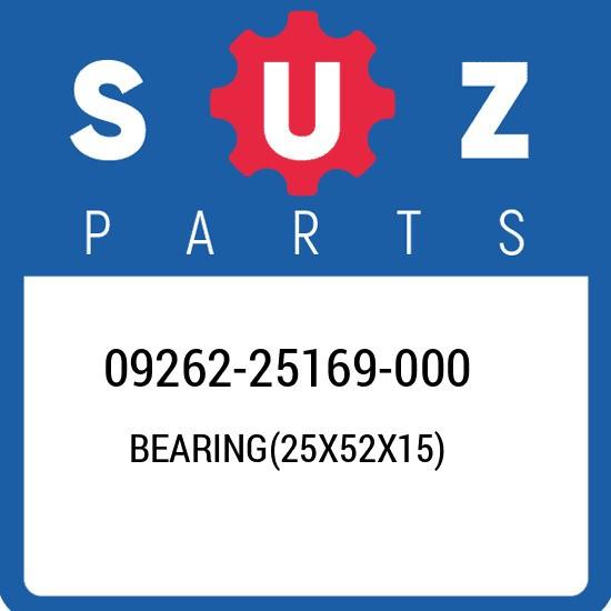 09262-25169-000 Suzuki Bearing(25x52x15) 0926225169000, New Genuine OEM Part